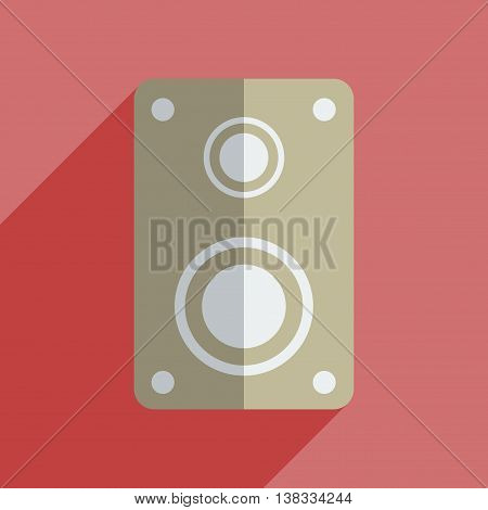 Flat icons with shadow of amplifier. Vector illustration