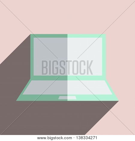 Flat icons with shadow of laptop. Vector illustration