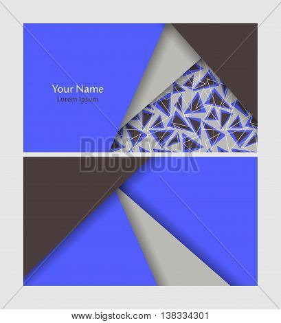 Vector business card template over geometric seamless pattern. Elements for design. Eps10 vector illustration