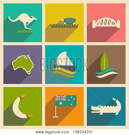 Set of flat icons with long shadow Australian