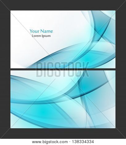 Vector business card template with transprent wavy elements. Elements for design. Eps10 vector illustration
