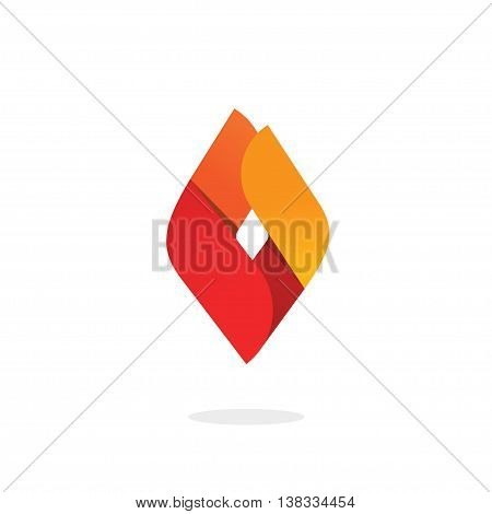 Fire flame logo vector, abstract ignite energy icon, blaze brand natural gas logotype template, candle light concept isolated, blaze modern design element flat style, corporate identity ribbon