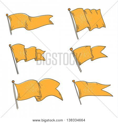 Vector set of different flag shapes - set