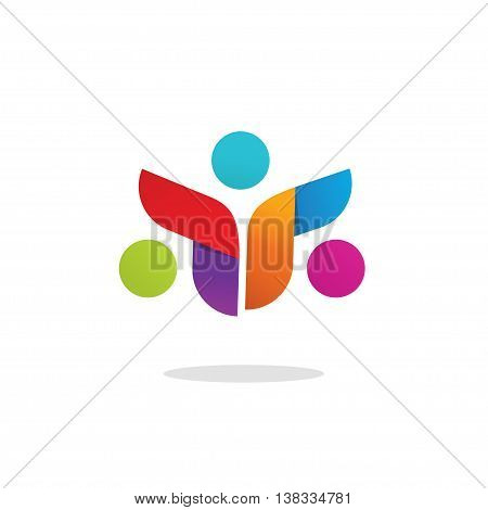 Three people logo colorful abstract vector symbol. Group of 3 happy motivated persons together with hands. Community cooperation unity friends vector icon logotype design. Friends society symbol sign