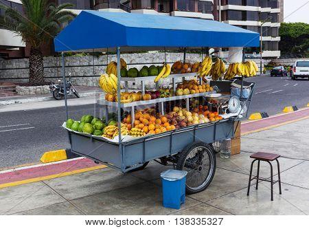 tropical fruits at a street market