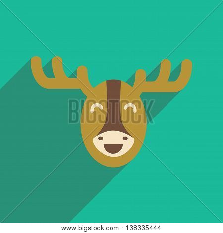 flat icon with long shadow Canadian moose