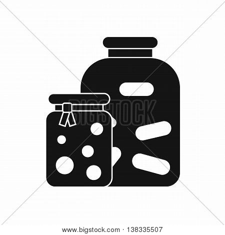 Jars with pickled vegetables and jam icon in simple style isolated vector illustration