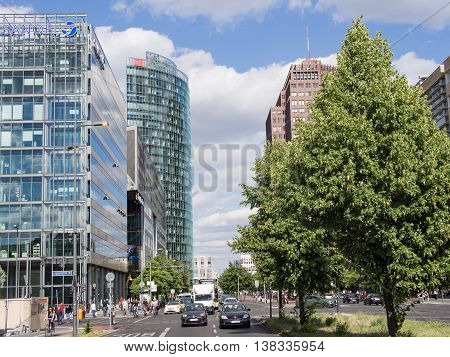 BERLIN GERMANY - JULY 7 2016: towers at Potsdamer Platz in Berlin Germany