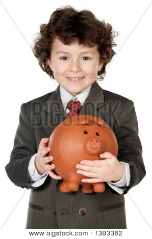 Adorable Child With Its Savings In Its Money Box Of Piggy