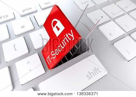 keyboard red enter key open underpass and ladder it security backdoor 3D illustration