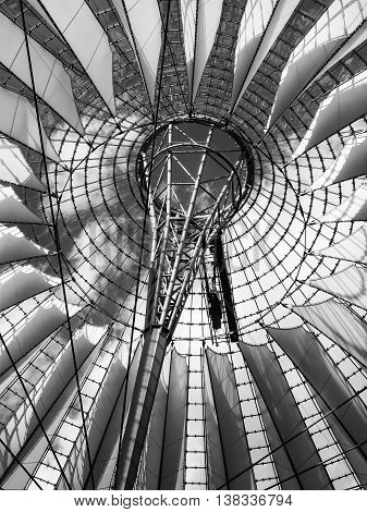 BERLIN GERMANY - JULY 7 2016: famous dome of Potsdamer Platz black and white