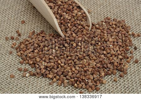 buckwheat strewn with wooden spoon on jute