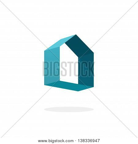 Blue 3d abstract geometric home logo, house technology sign, real estate vector logo template, rent home concept