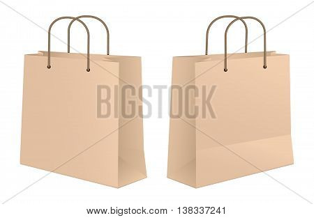 Craft Paper Shopping Bag Front And Rear View. Vector Illustration Of A Craft Paper Shopping Bag. Front And Rear View. No Transparencies, Global Colors Used