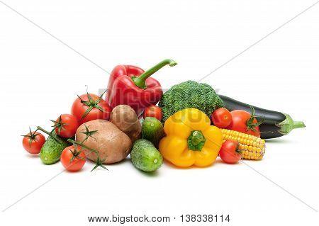 ripe fresh vegetables isolated on white background close up. horizontal photo.
