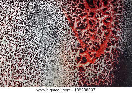 Cracked Red Paint On Grunge Metal Surface - Macro 18