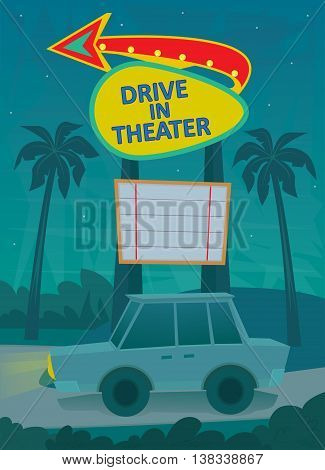 A night scene of a drive in theater entrance, with a neon sign and a car driving by. Eps10