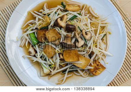 Fried Bean Sprouts, Tofu, Shiitake, Oyster Sauce.