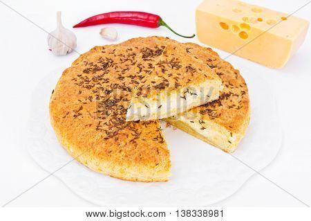 Georgian National Dish Pie with Cheese and Caraway Khachapuri Studio Photo