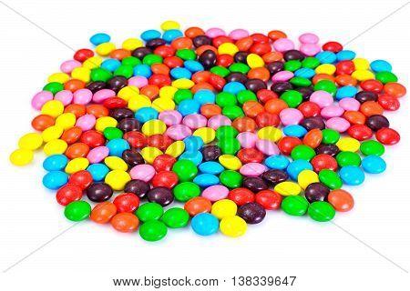 Sweet Bonbons Candy. Isolated on White. Studio Photo