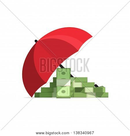 Money stack covered with umbrella, concept of money protected, pile of cash protection under shield, financial insurance vector illustration isolated on white background