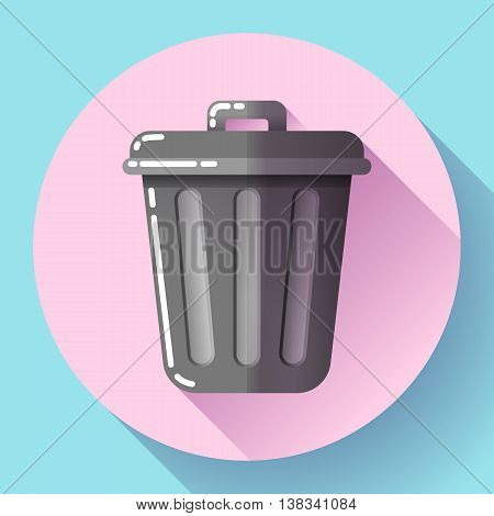 Trash can icon Recycle Bin Garbage Flat Vector Illustration.