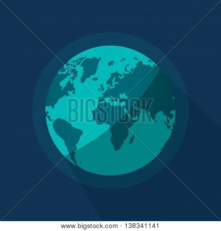 Earth globe vector illustration isolated on blue space background, flat cartoon earth planet from space