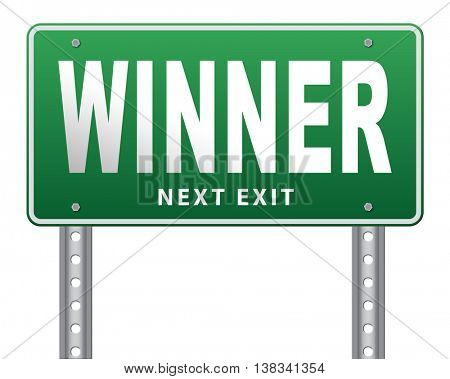 winner of medal and quiz results price and award or contest winners road sign, 3D illustration, isolated, on white