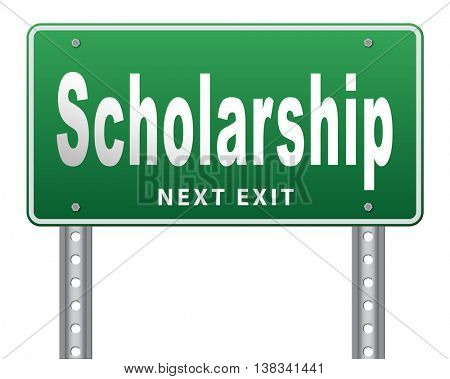 Scholarship or grant for university or college education study funding application for school funds, 3D illustration, isolated, on white