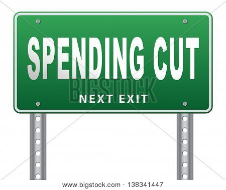 Spending cut lower budgets and public spendings cuts economic recession 3D illustration, isolated, on white