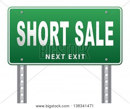 short sale sign reduced prices sales billboard 3D illustration, isolated, on white