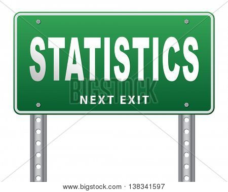 Statistics and data analysis for website survey, road sign billboard 3D illustration, isolated, on white