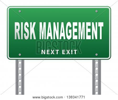 Risk management insurance and safety to assess avoid risks 3D illustration, isolated, on white