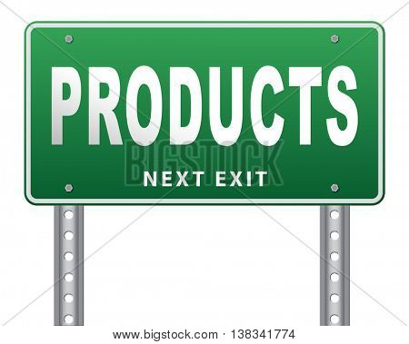 Products for sale at online internet web shop, webshop cataloge road sign billboard 3D illustration, isolated, on white