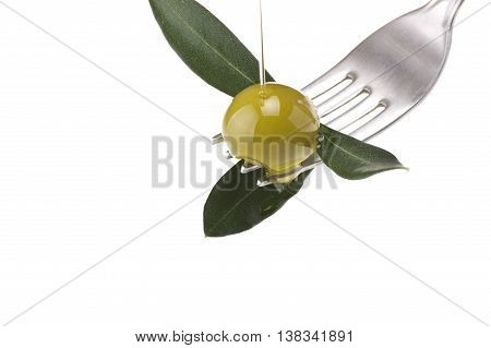 fork with olive and leaves with drop oil