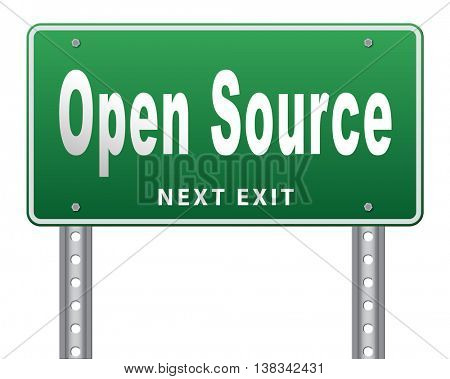 Open source program software program or economy freeware internet data computer sharing 3D illustration, isolated, on white