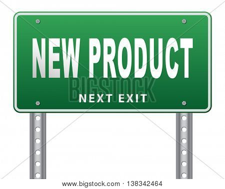 new product coming soon announcement arriving and available soon advertising news, road sign, billboard. 3D illustration, isolated, on white