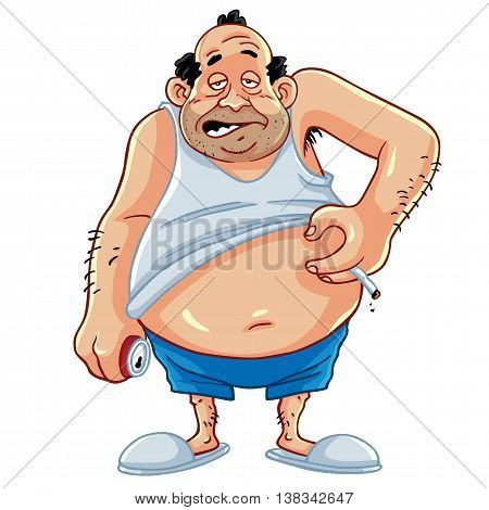 Fat Man Smoking And Drinking Coke Character Design