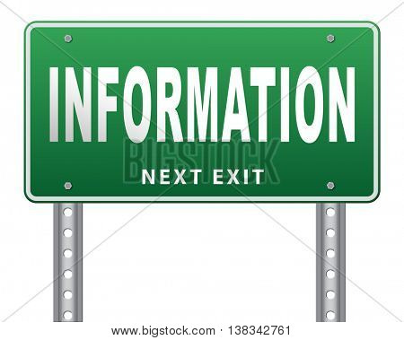 information sign to search more details and find online info 3D illustration, isolated, on white