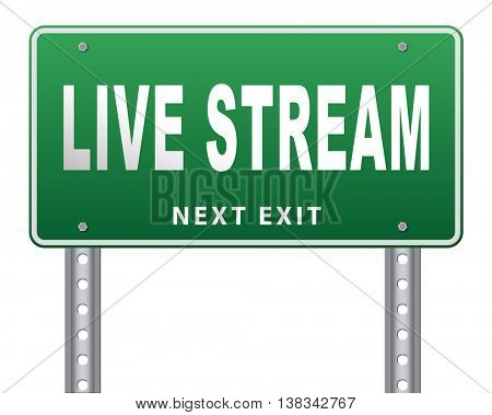 live stream music song audio or listen to radio streaming road sign billboard video or movie 3D illustration, isolated, on white