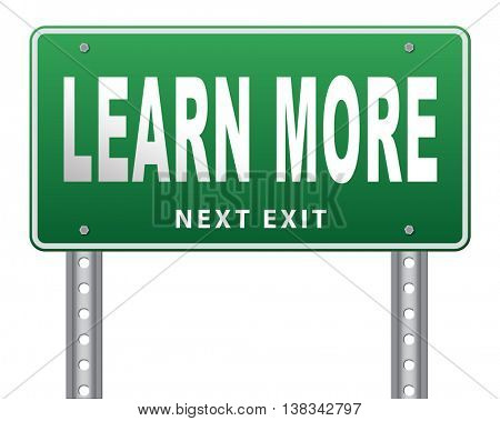 learn more details and find info road sign billboard with information sign. Online education or help or support desk. Search and find knowledge online.  3D illustration, isolated, on white
