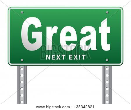 Great business opportunity financial success being lucky, road sign billboard. 3D illustration, isolated, on white