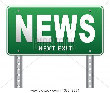 hot and latest news bulletin breaking new information 3D illustration, isolated, on white