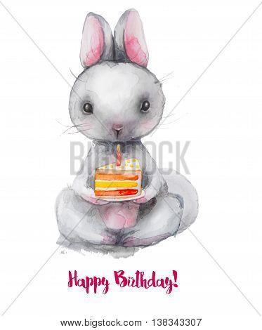 cute watercolor cartoon hare with birthday cake