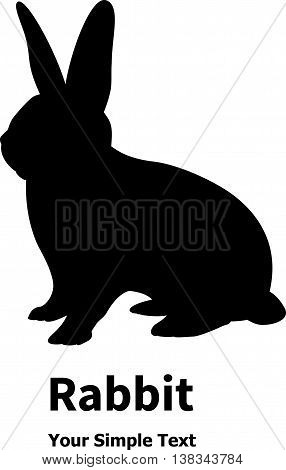 Vector illustration of a black rabbit icon isolated on white background. Bunny silhouette.