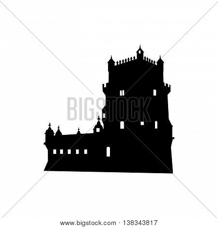 Monuments and landmarks Vector Collection Belem Tower. Silhouette on a white background