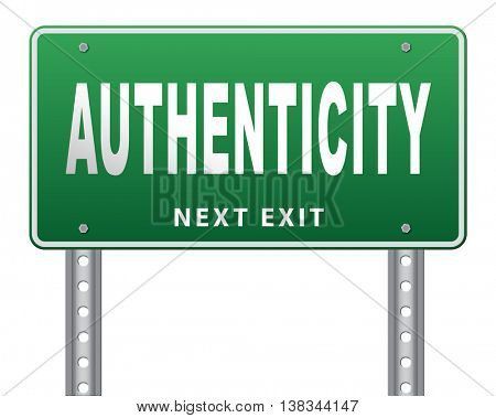 authentic quality guaranteed label authenticity guarantee assurance label for highest product control, road sign billboard. 3D illustration, isolated, on white