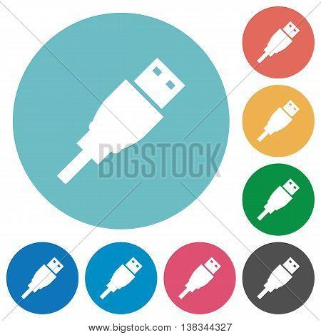 Flat USB plug icon set on round color background.