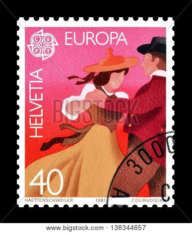 SWITZERLAND - CIRCA 1981 : Cancelled postage stamp printed by Switzerland, that shows Dancing.