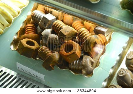 Selection of chocolate and sweets in fridge